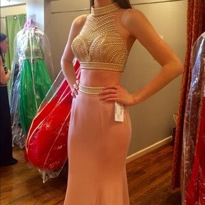 La Femme Blush and Gold Two Piece Prom Dress